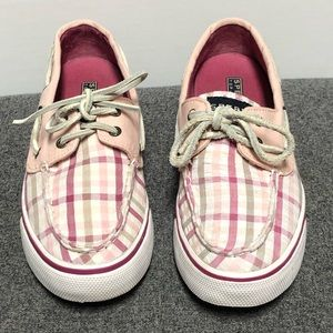 Sperry Top Sider Pink Gray Plaid Leather Shoe 7.5
